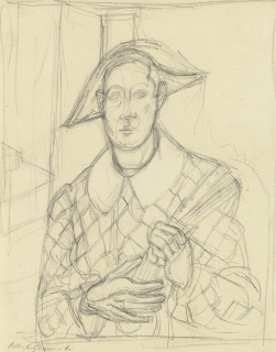 Alberto Giacometti - L'Arlequin_32,8x25,2 cm., circa 1936-1940, lápiz sobre papel — Cortesía del Salon du Connaisseur