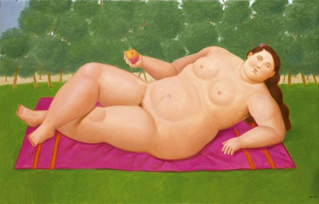 Fernando Botero, Eva, 2017. Óleo sobre lienzo, 100x156 cm. — Cortesía de Galería Marlborough - Madrid