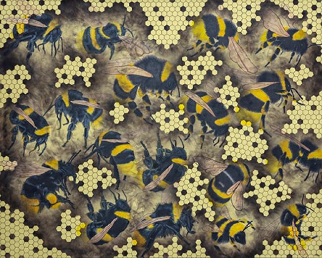 """Sabino Guisu, de la serie """"Dead Honey"""", 2018. Polen, acrílico y humo. Colección del artista."""