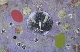 """Teresa Gancedo, Serie """"Ángel sobre flores"""", 2019. Óleo y collage sobre tela estampada. 47 x 37 cm. — Cortesía de N2 Galería"""