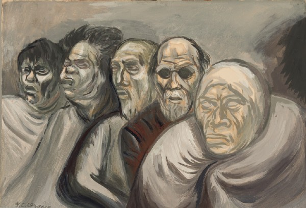 José Clemente Orozco, Five Heads (Beggars), gouache on wove paper, 11 × 16 inches, c. 1940