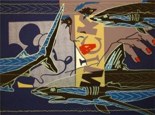 Maria Luisa Sanz. Tiburon Azul. Serigrafia. Papel guarro casas. 52 x 70 cm.