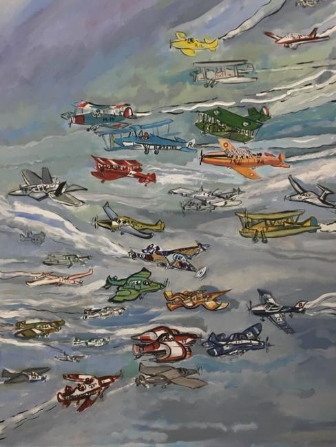 28 Aviones - FEBRERO - 130 x 97 cm., óleo sobre lienzo