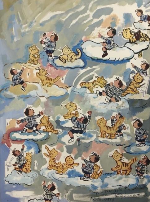 Eloy y su gato en las nuves - SEPTIEMBRE -130 x 97 cm., óleo sobre lienzo.