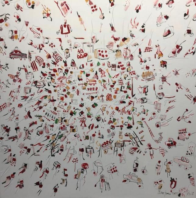 Todos al mercado, 116 x 81 cm., óleo sobre lienzo