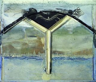 Lucio Muñoz, Arco fisia, 1992, técnica mixta sobre tabla 204x241 cm. — Cortesía de la Galería Marlborough