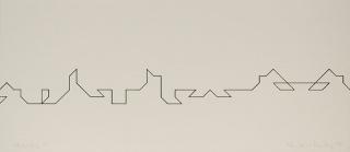 Elena Asins. Calligrafie (4/4 elementos), 1989. 21,5 x 50. Tinta sobre cartulina — Cortesía de la Galería Elvira González