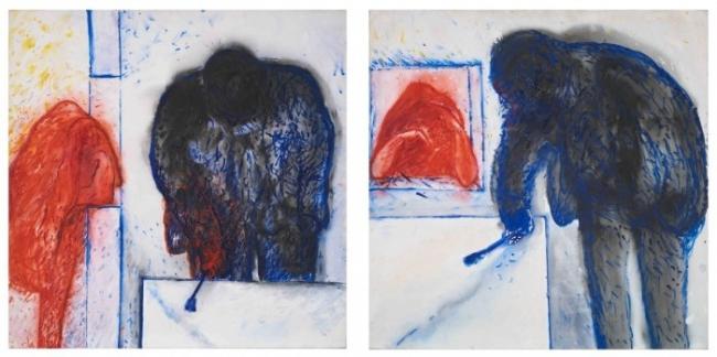 Autorretrato con la peste en Ceppaloni, 1988 Díptico, acrílico sobre tela 150 x 150 cm c/u Colección particular