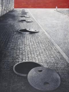 """José Iranzo """"Anzo"""", Isolement 10, 1997 Huile sur toile, 118 x 92 cm. — Cortesía del Centre d'Art Contemporain àcentmètresducentredumonde"""