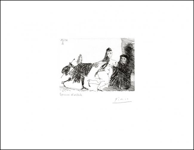 Pablo Picasso, La Celestina en acción: el palomo (1968). Valencia, Colección Fundación Bancaja. Sucesión Picasso  Vegap 2019 — Cortesía del Museo Picasso - Colección Eugenio Arias