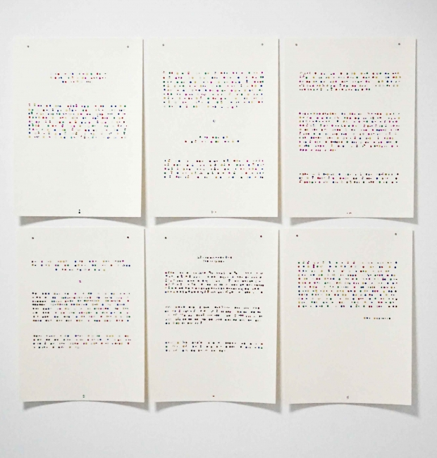 Luz Ángela Lizarazo, Writing from the void, Comfit on paper, 45 x 32 cms, 6 pieces of 24 ,2018