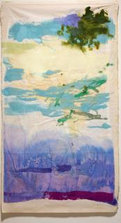 Patricia Azcárate, Piel de agua, julio de 2020. Gasa pintada sobre tela, 184 x 100 cm. — Cortesía del Museo de Arte Contemporáneo Esteban Vicente