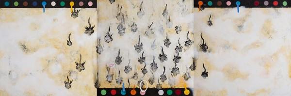 Black Flowers Rain. 120 x 360 cm. Mixta sobre madera. Colección privada
