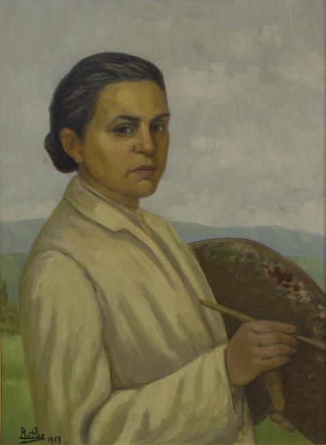 "Guillermo Butler, ""La Artista"", óleo sobre hardboard, 1959. 70 x 51,5"