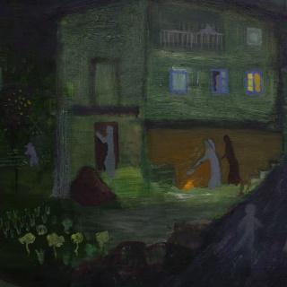 Detalle de Villamejín, infancia de Jesús en Asturias.