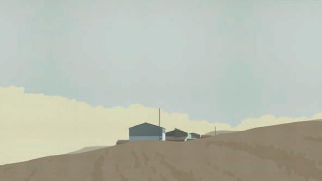 Chema Peralta, Nave en las afueras, 2018 Acrílico sobre tela, 38 x 63 cm. — Cortesía de Arte Madrid