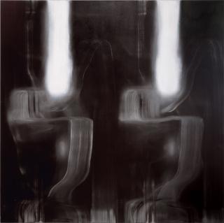 """""""Doble dark I"""" Óleo / lienzo; 205 x 205 cm."""