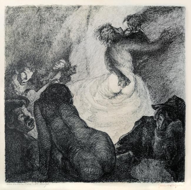 El tango. Serie la mala vida. Facio Hébequer. Litografía. 39 x 40 cm. — Cortesía del Gobierno de la Ciuda de Buenos Aires