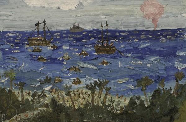 Christian Vinck, Las paredes de Pedro Castillo y otros paisajes incendiarios 2, 14,5 x 21 cm., 2014. Óleo sobre lienzo