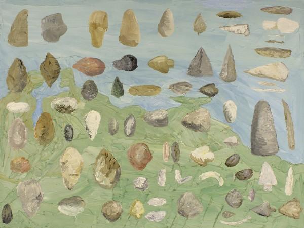 Christian Vinck, Puntas de flechas, piedras y plomo, 45,5 x 60 cm., 2014. Óleo sobre lienzo