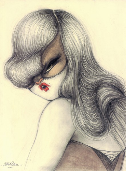 Miss Van, Wild at Heart, 2012, Pencil and paster on paper, 40 x 30 cm.