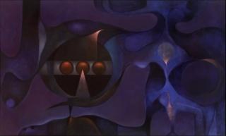 Rafael Soriano, Más allá del azul (Beyond the Blue), 1978, oil on canvas, 30 x 50´´, Zelaya Rodríguez Collection