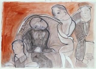 José Luis Cuevas. La residencia de estudiantes I, 1997. Dibujo. Colección Museo Nacional Centro de Arte Reina Sofía, Madrid