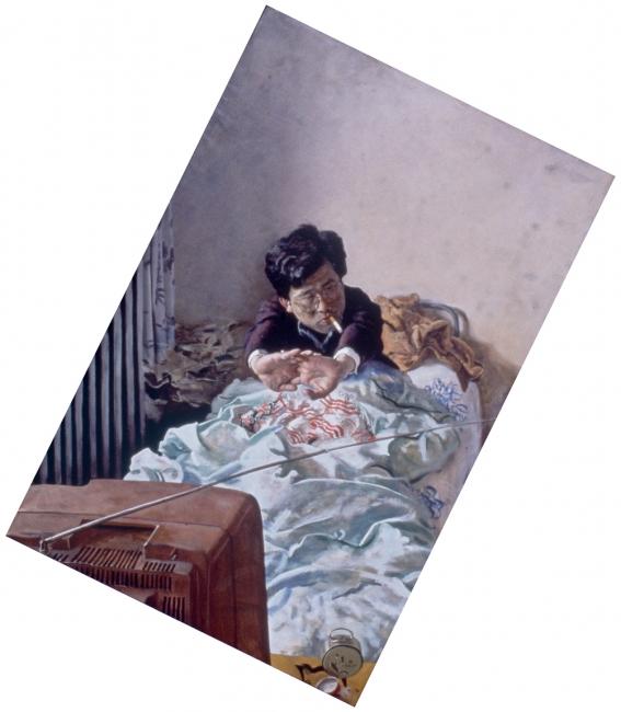 Zhao Bandi, El joven Zhang (Young Zhang), 1992. Óleo sobre lienzo, 214x140 cm. Colección particular – Cortesía del Museo Guggenheim Bilbao