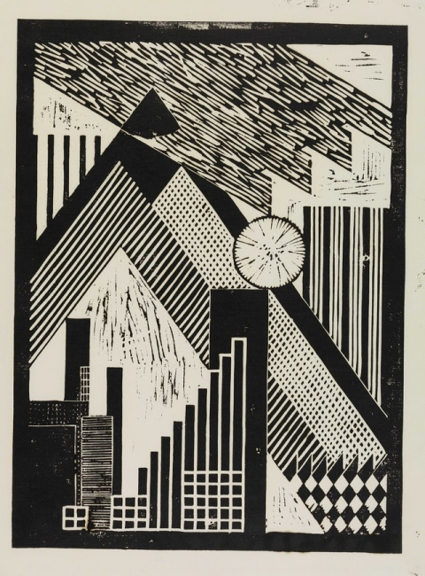 Hannes Meyer, Untitled, undated, ca. 1925–26 Linocut on paper 32.5 ×43.5 cm gta Archives / ETH Zurich, Hannes Meyer / © Heirs to Hannes Meyer