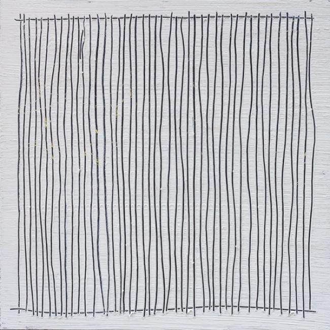 Rubén Martín de Lucas. Desierto XVI. Acrílico, ceras, y óleo sobre tabla. 60 x 60 cm. 2017 — Cortesía de Moret Art