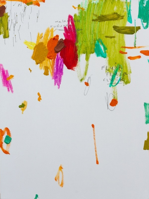 Rubén Martín de Lucas. Pequeño jardín salvaje III. Acrílico, ceras, y óleo sobre tabla. 40 x 30 cm. 2018 — Cortesía de Moret Art