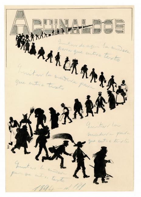 Mecachis (Eduardo Sáenz Hermúa), Aguinaldos, 1ª. Blanco y Negro, núm. 191, 29 de diciembre de 1894. Tinta sobre papel, 322 x 225 mm. Colección ABC — Cortesía del Museo ABC