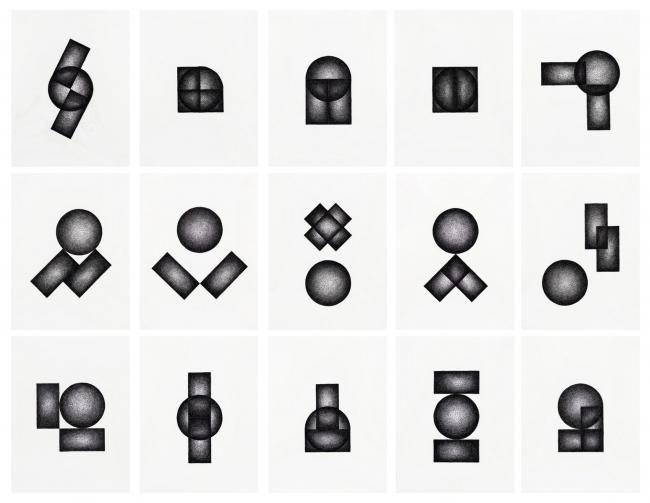 Ignacio Uriarte, Dos rectángulos y un círculo, 2018 (15 dibujos) — Cortesía del Museo ABC