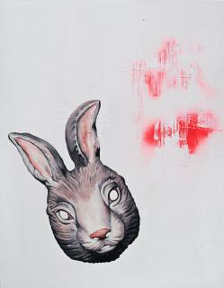 Cuca Nelles: Rabbit, 2018. Técnica mixta sobre lienzo. 150x120 cm. — Cortesía de la Galería Juan Silió