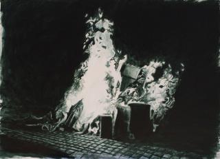 Johans Peñaloza, Ensamblaje Territorial n°9, 2020, acrílico sobre tela, 79 x 110 cm