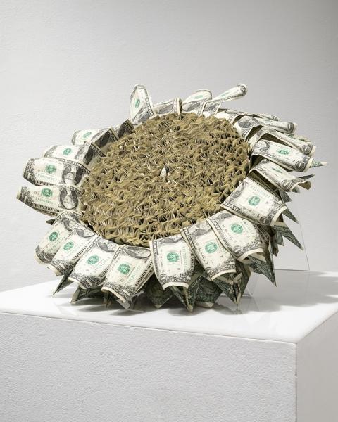 Kelly Heaton, Spent Flower, 2015, U.S.A., one-dollar bills, rope, acrylic, 6.25 x 18 x 18 inches. Photo: Casey Dorobek. Courtesy of Ronald Feldman Fine Arts, New York