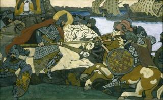 Nikolái Roerich. Aleksander Nevski vence al Birger Jarl. 1904 — Cortesía de Colección Museo Ruso