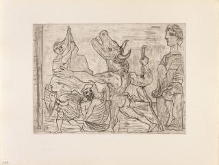 Pablo Picasso, Serie Suite Vollard. Minotauro ciego guiado por una niña — Cortesía del Centro Niemeyer