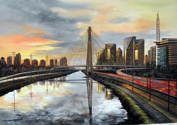 Maramgoní, Sao Paulo - Marginal Pinheiros com Ponte Estaiada - 70x100cm.