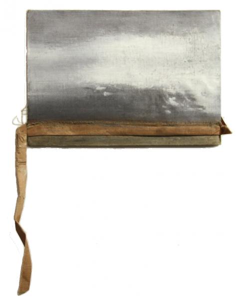 W, Mixta  sobre tapa de libro, 22 x15 cm, 2015