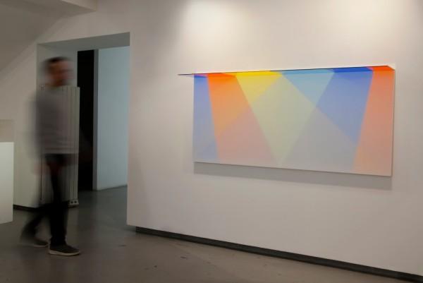 David Magán, Binary V, 2016. 180 x 80 x 30 cm. Acrylic, wood, white paint, aluminium and light