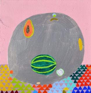 """Laura López Balza. """"Algunas frutas de otoño"""", 2018. Acrílico sobre tabla. 30x29 cm.  – Cortesía de La Gran"""