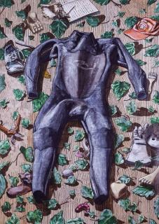 Joa?o Francisco, sem ti?tulo-mille-fleurs (um retrato – Ma?rsias), 2018, acri?lico sobre papel), 155x110 cm. — Cortesía de la Galeria 111