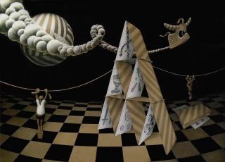 """Miguel Ángel Ferreira, """"Un cuatro de copas"""". Grafito y Lápiz color sobre MDF con látex 115 cm. x 160 cm. 2017 — Cortesía del artista"""