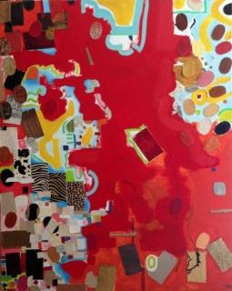 Rojo, mixta sobre tela, 163 x 130 cms.