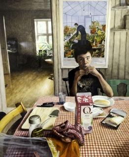 Marcos Palazzi, Mi pez se llama Pinocho y mi hijo Simón, oil on wood, 100 × 81 cm. – Cortesía de la Sala Parés