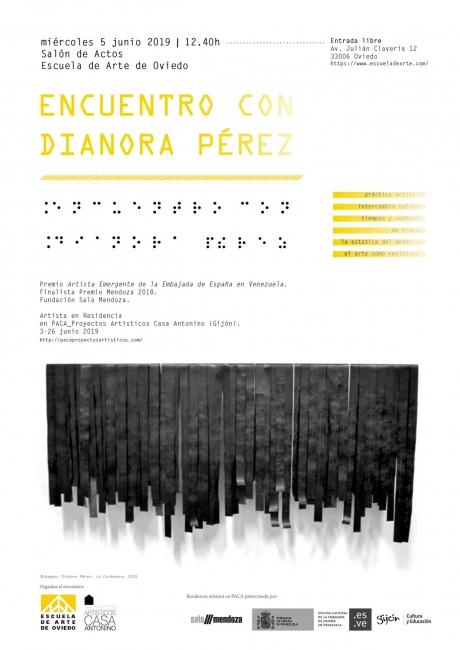 Cartel - Encuentro con Dianora Pérez en la Escuela de Arte de Oviedo.