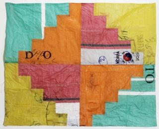 CANDELARIA TRAVERSO. Serie, 2019. Patchwork en arpillera sintética. 120 x 144 cm