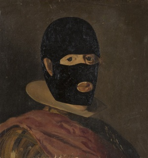 Eduardo Arroyo. Fantômas déguisé en Giorgio de Chirico, 2006. Óleo sobre lienzo — Cortesía de Tiempos Modernos