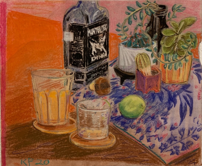 Kevin Perkins. Stil life with suculents and mezcal.Conté crayon and charcoal on paper. 2020 — Cortesía de Trinta arte contemporánea